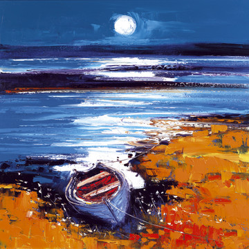 Autumn moon over Bunessan Isle of Mull