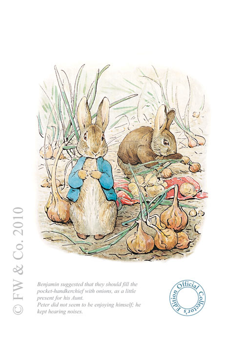 Benjamin & Peter with onions by Beatrix Potter