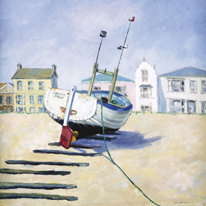 QuayGallery.net Moored Boat by Jane Hewlett, canvas poster